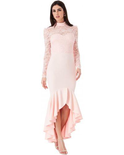 Облегающее розовое кружевное коктейльное платье Goddiva