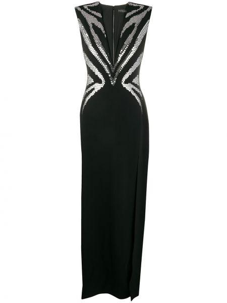 Черное платье с декольте без рукавов металлическое David Koma