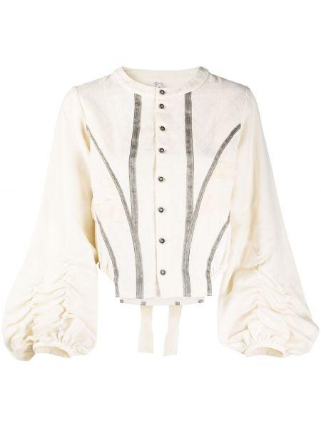 Бежевая шелковая блузка с круглым вырезом круглая Renli Su