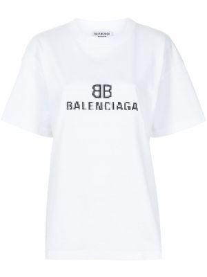 Biała t-shirt bawełniana krótki rękaw Balenciaga