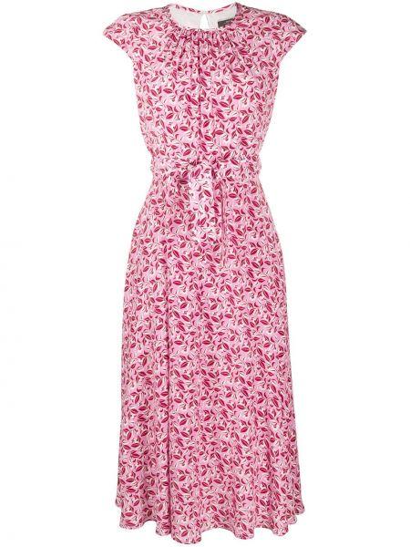 Шелковое розовое платье без рукавов с вырезом Weekend Max Mara