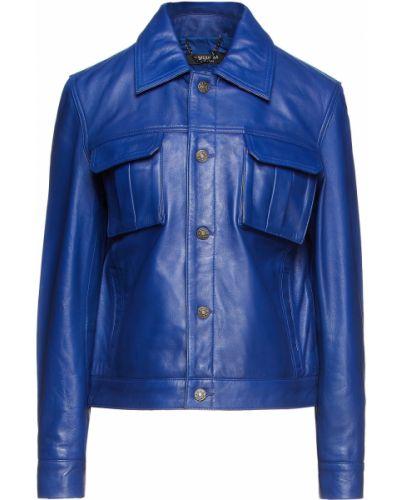 Синяя кожаная куртка из овчины Muubaa