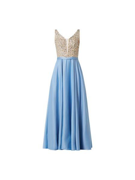 Niebieska sukienka wieczorowa rozkloszowana z cekinami Mascara