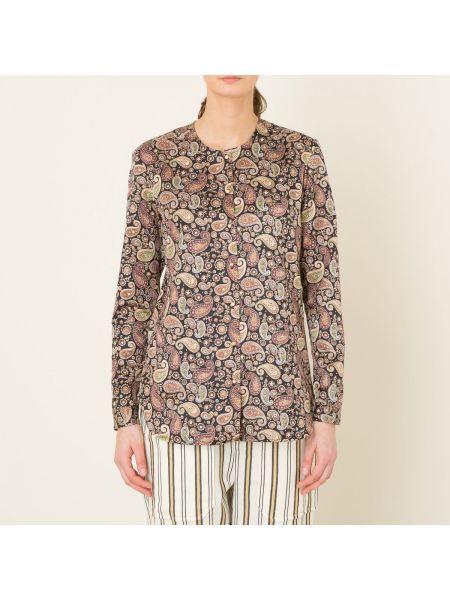 Шелковая блузка с длинным рукавом на пуговицах с манжетами с рисунком Laurence Bras