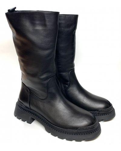 Кожаные сапоги - черные Estomod
