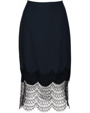 Шелковая ажурная с завышенной талией юбка миди в рубчик Kiki De Montparnasse