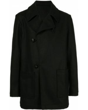 Черное прямое шерстяное длинное пальто Zambesi