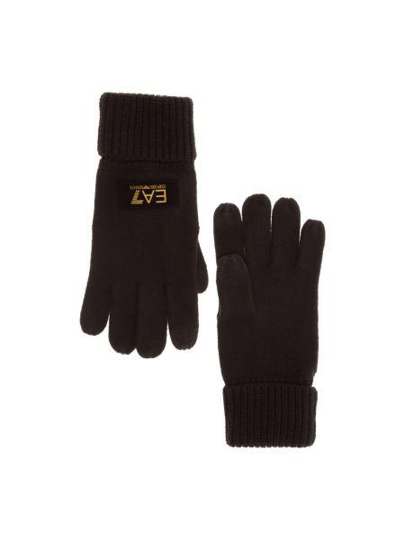 Czarne rękawiczki Emporio Armani Ea7