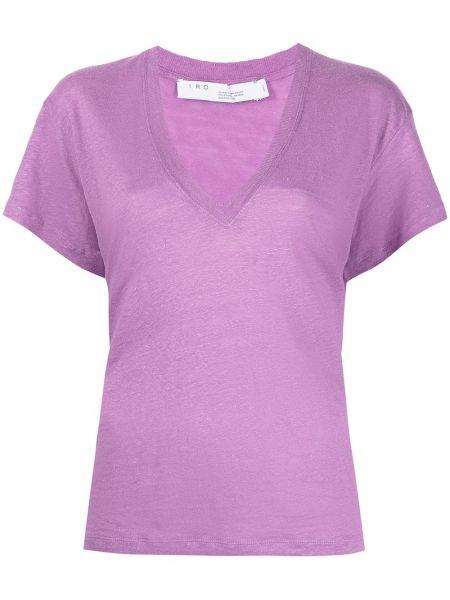 Фиолетовая прямая футболка с вырезом Iro
