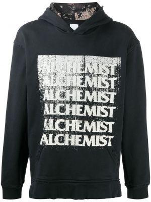 Czarna bluza długa z kapturem z długimi rękawami Alchemist