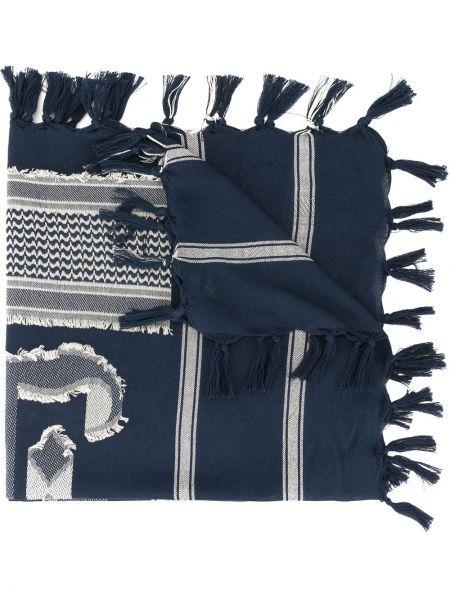 Prążkowany niebieski szalik bawełniany Undercover