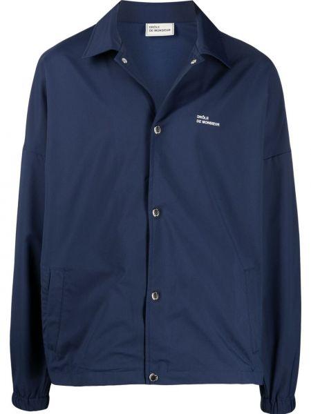 Klasyczna niebieska długa kurtka z haftem Drole De Monsieur
