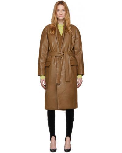 Zielony długi płaszcz z kapturem skórzany Pushbutton
