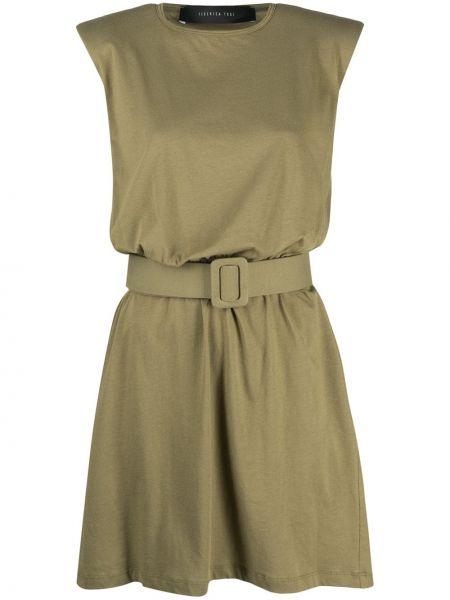 Прямое зеленое платье без рукавов Federica Tosi