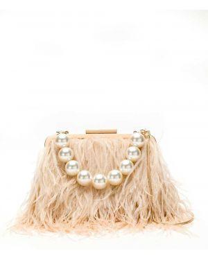 Розовая сумка с перьями с подкладкой Isla