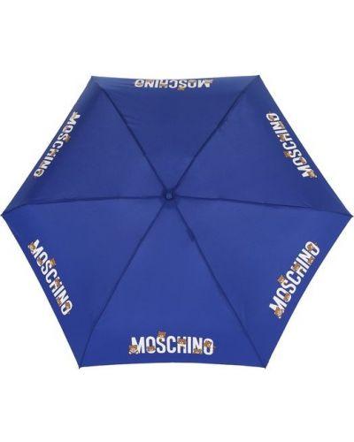 Синий зонт складной Moschino