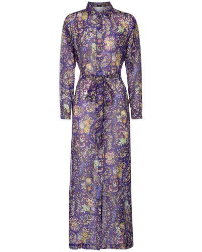 Шелковое платье макси с жемчугом на кнопках Etro