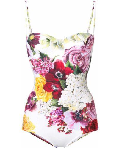 Белый слитный купальник на бретелях в цветочный принт Dolce & Gabbana
