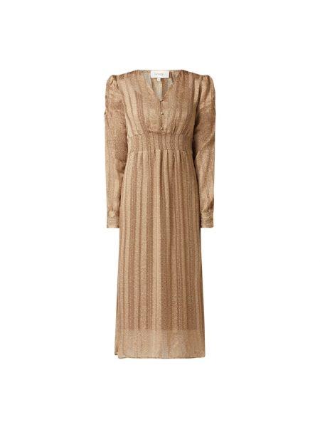 Beżowa sukienka rozkloszowana z szyfonu Levete Room