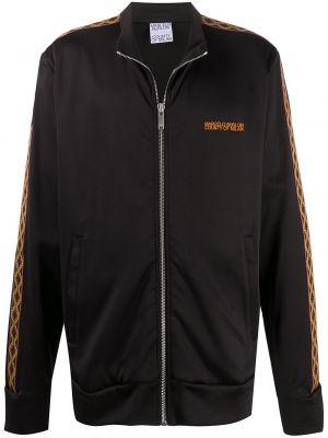 Czarna długa kurtka z haftem bawełniana Marcelo Burlon County Of Milan