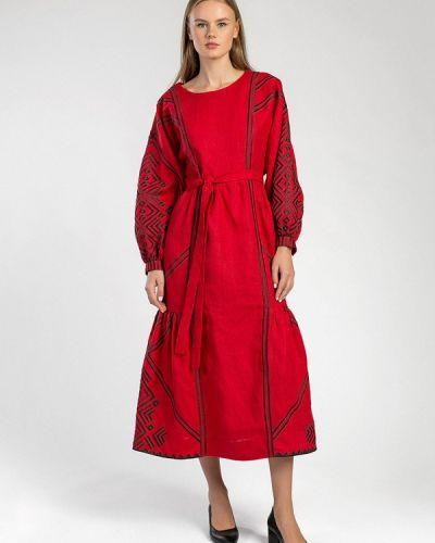 Повседневное красное платье Etnodim
