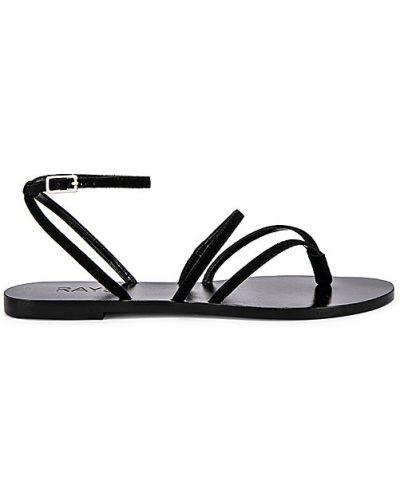 Czarne sandały skorzane klamry Raye