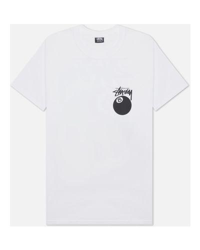 Белая хлопковая футболка Stussy