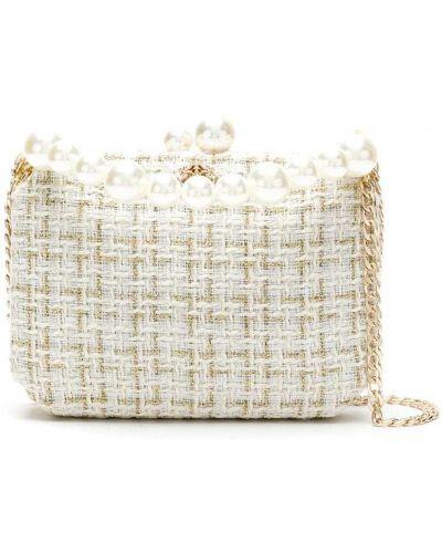 Золотистая сумка на цепочке твидовая с декоративной отделкой Isla