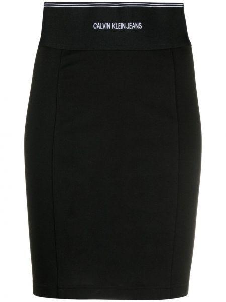 Черная с завышенной талией джинсовая юбка с поясом Calvin Klein Jeans