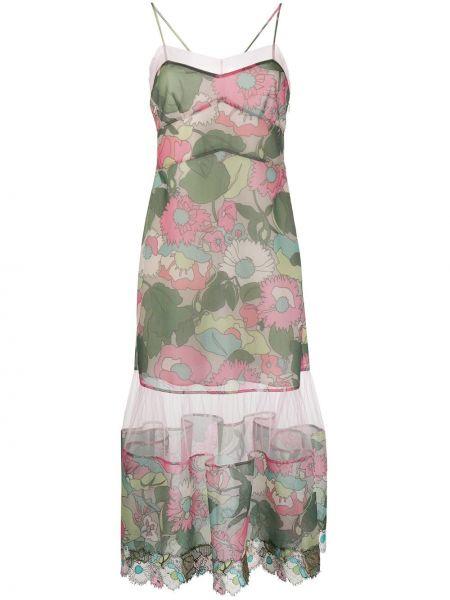 Платье миди на бретелях с цветочным принтом Fendi