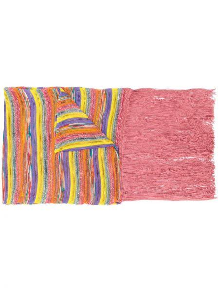 Różowy szalik w paski z wiskozy Missoni