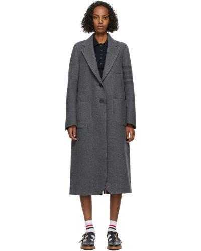 Черное пальто с накладными карманами Thom Browne
