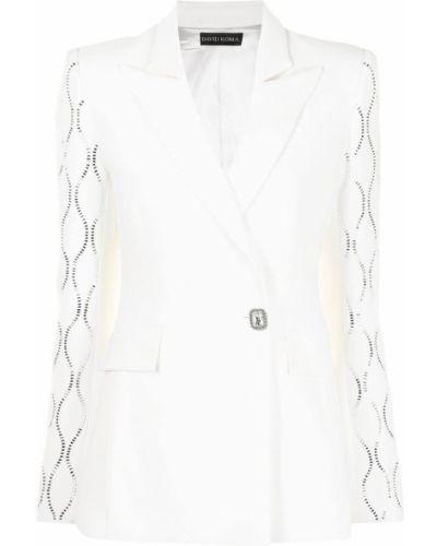 Белый пиджак с карманами на пуговицах David Koma