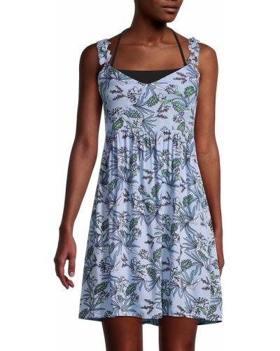 Плиссированное платье мини без рукавов с V-образным вырезом Tiare Hawaii