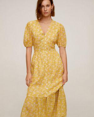 Sukienka midi codzienna wełniana Mango