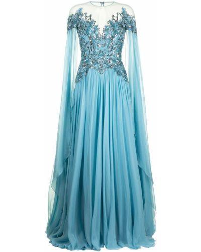 Шелковое синее платье макси с вырезом Zuhair Murad