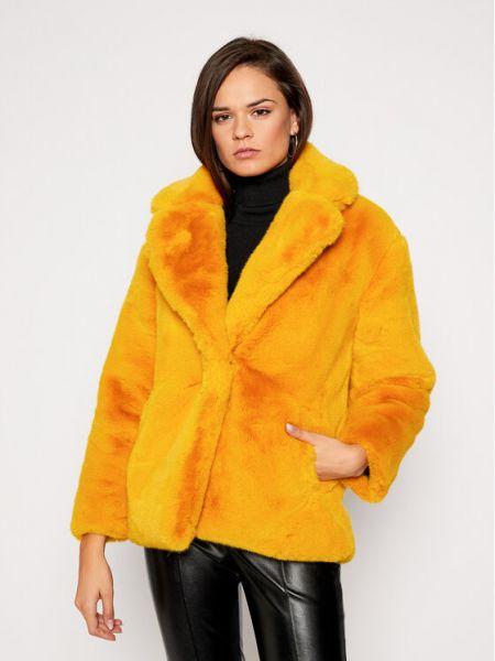 Żółty futro z futrem przeoczenie Futro Desigual