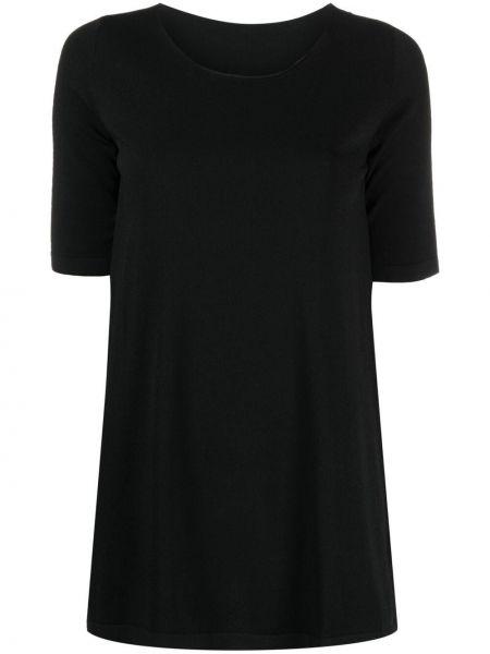 Прямая черная футболка с вырезом Roberto Collina