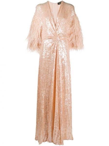 С рукавами платье макси с пайетками с вырезом Jenny Packham