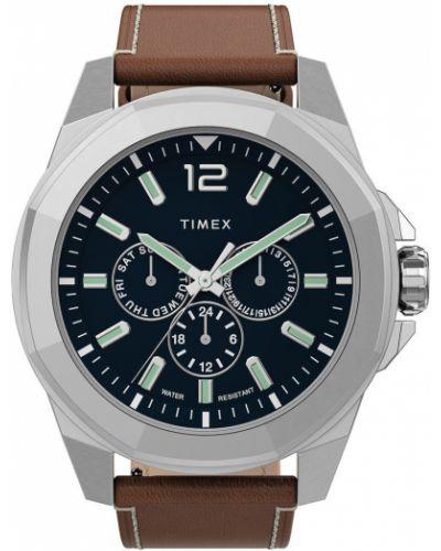 Brązowy zegarek kwarcowy skórzany z paskiem Timex