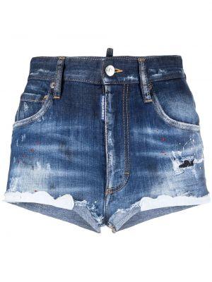 Хлопковые синие джинсовые шорты с карманами Dsquared2