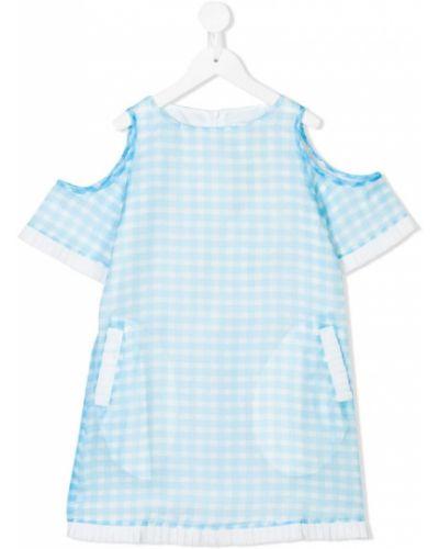 Платье с рукавами плиссированное синий Le Mu