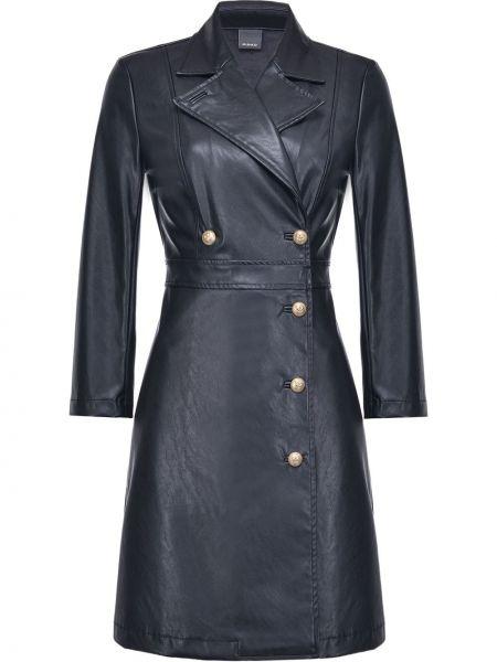 С рукавами кожаное черное платье миди Pinko