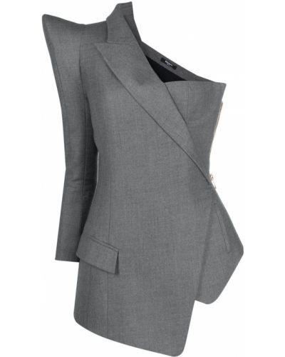Шерстяной пиджак - серый Balmain