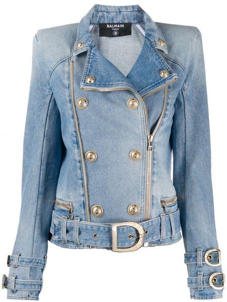 Синий пиджак на молнии двубортный с тиснением Balmain