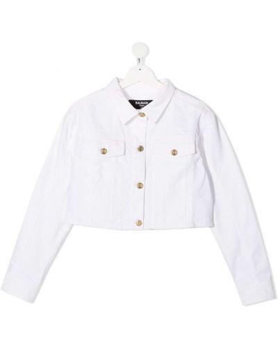Ватная белая джинсовая куртка с воротником Balmain Kids