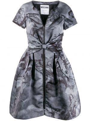 Серое пышное платье мини на шнуровке с вырезом Moschino Pre-owned