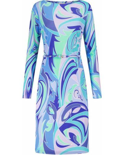 Трикотажное синее платье миди Emilio Pucci