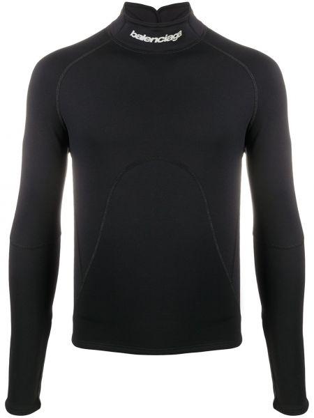 Wyposażone czarny top z długimi rękawami Balenciaga
