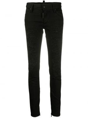 Кожаные с завышенной талией черные джинсы-скинни Dsquared2